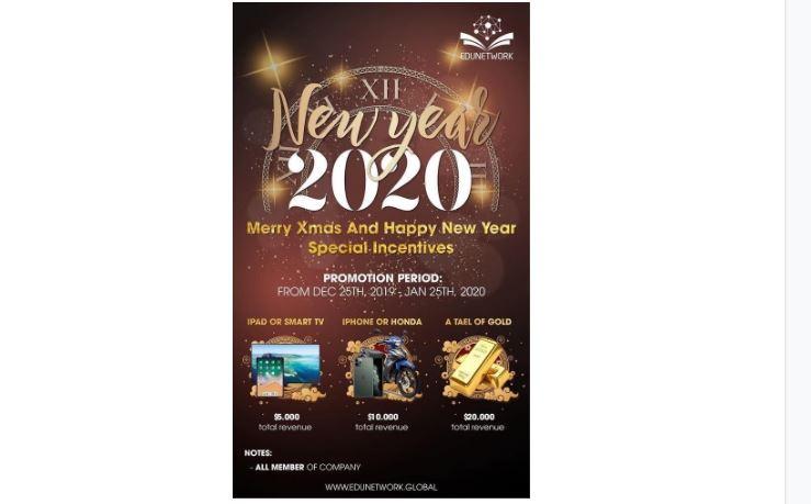 """EDUNETWORK tặng 'quà khủng cho thành viên"""" nhân dịp năm mới 2020."""